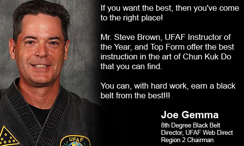 Joe Gemma, Las Vegas, NV endorsing Master Steve Brown and Top Form Karate